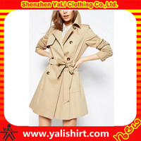 Latest fashion top grade womens long trench coat jacket with belt replacement