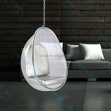 Clear Acrylic Bubble Egg Hanging Chair with Silver Cushion