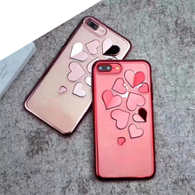 2017 New Lovely Heart Soft Plating TPU Cell Phone Case For iPhone X 8 Plus 6 7