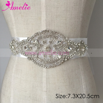 Beaded Crystals and Rhinestones Bridal Wedding Dress Belt with Satin Ribbon