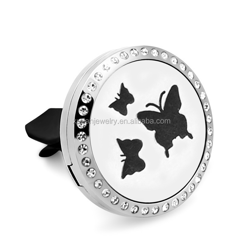 wholesale stainless steel car perfume diffuser Hollow butterfly crystal open locket