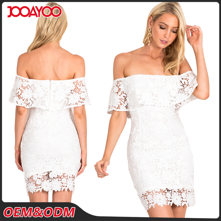 Customized Latest Fashion Party Women Dresses Off Shoulder Casual White Ladies Lace Dress