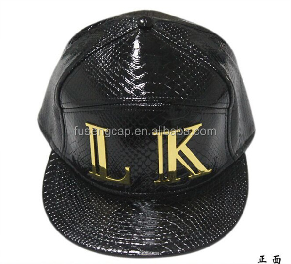 Custom LK Metal Plate Patch High Quality Faux PU Leather Snapback Hat Cap