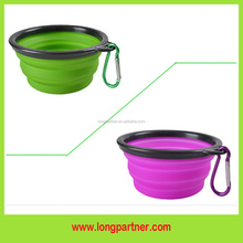 Free shipping silicone travel dog bowl with hook