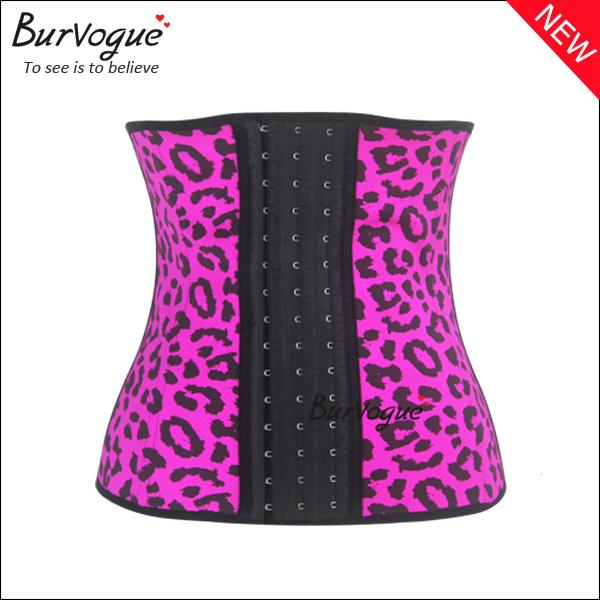 New Leopard Latex Waist Training Corset Steel Boned Sexy Women Slimming Body Shaper Firm Control Underbust Corset Wholesale