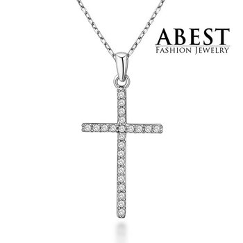 Hot Sale Sterling 925 Silver Plating 18K White Gold Elegant Cross Ring Pendant Necklace Jewelry
