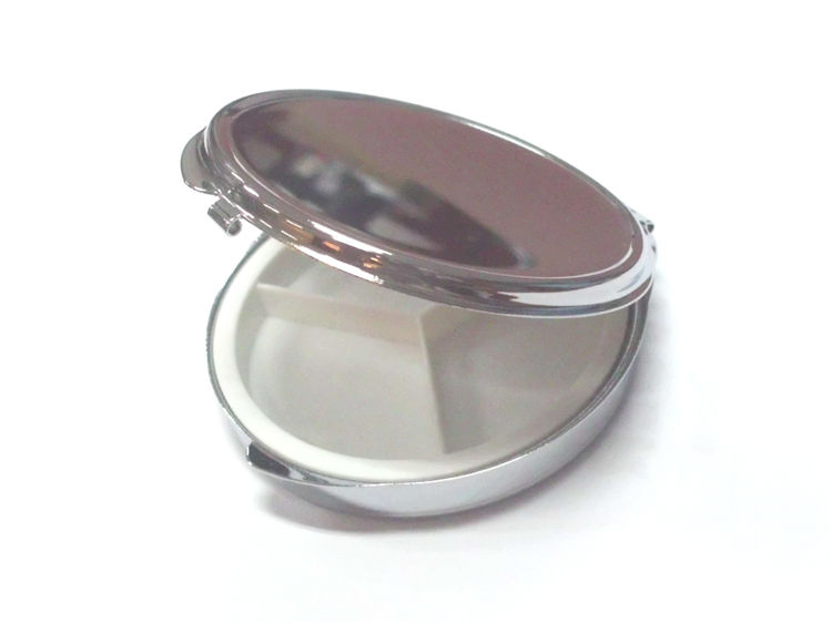 Hot sale food grade japanese zinc alloy metal round 3 days pill case with mirror,portable travel mini aluminum pill case