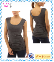 womens kintted 95% polyester 5% spandex built-in bra tank tops racerback