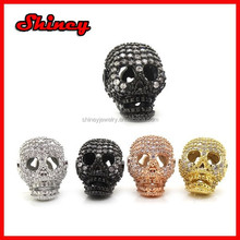 micro pave cz for diy jewelry sterling silver skull beads
