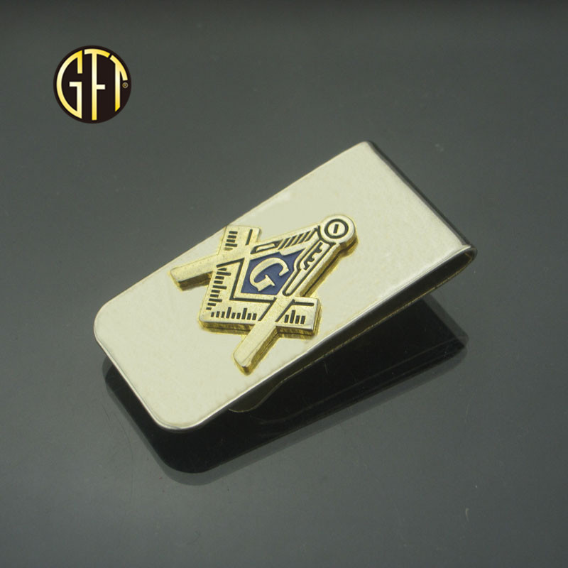 Custom Masonic style gold plated stainless steel wallet metal money clip Chinese supplier