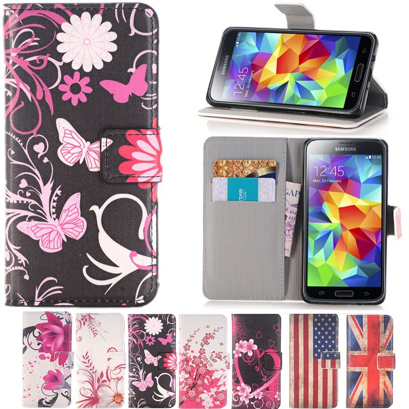 Stand Style Wallet Flip Leather Case Paiting Soft Cover for Samsung galay S3 S4 S5 S6 S7 edge / mini S3mini S4mini i9190 S5mini