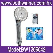LED color changing shower head with remote