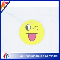 2016 fragrance hanging paper cardboard air freshener for car use smelling face