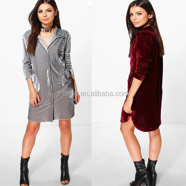 USA Women Boutique Clothing Fashion Beautiful Lady Winter Warm Coat Jacket Plain Grey Long Velvet Shirt Dress For Women