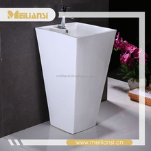 Floor-standing White Resin Round Washbasin Without Faucet Hole washing machine adaptor Pedestal Sink
