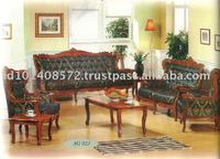 Teak Sofa Set Classic Design Romawi Bunga Pandan 1 Indoor Furniture.