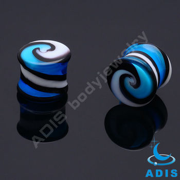 EAR TUNNEL PLUG FLESH PYREX GLASS PIERCING