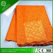 high quality sequenis french lace wedding dress fabric FY3001 ORANGE