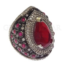 Hurrem Sultan Red Silver Ring 925 Istanbul