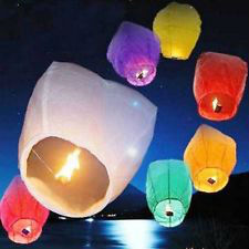 Chinese paper Lanterns Sky Fly Candle Lamp for Wish Party Wedding US seller