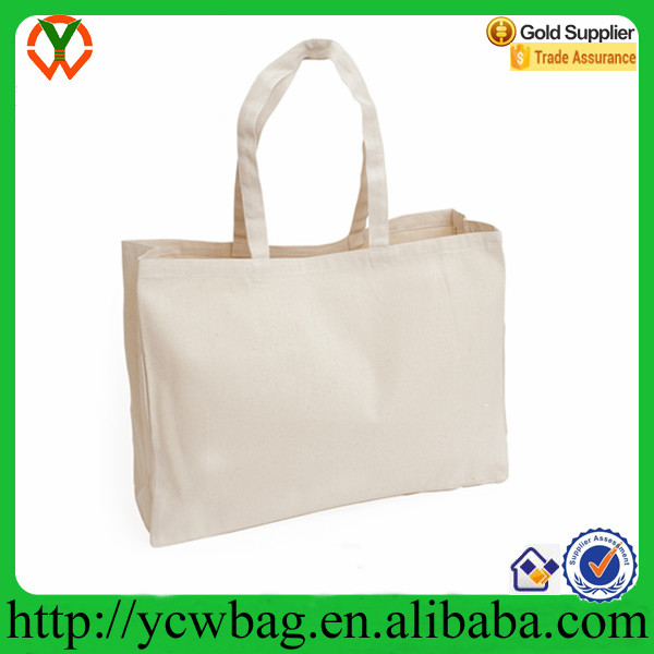 Plain white supersize natural cotton canvas tote bag