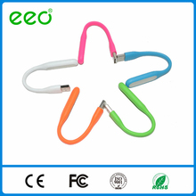 Hot selling flat micro led usb cable with led light for mobile phone