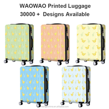 printing fruit banana luggage trolley bag suitcase with custom logo pattern