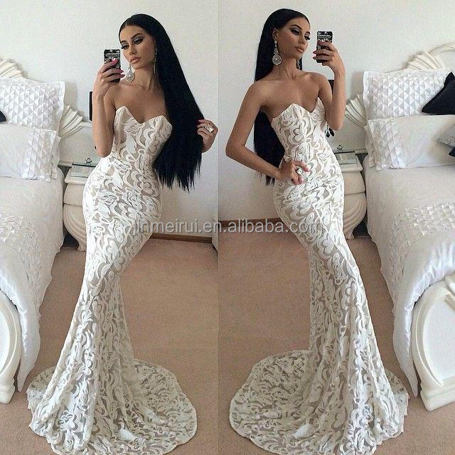 2017 latest vestidos de fiesta white sexy lace mermaid prom dress sleevelss long backless court train Evening gowns