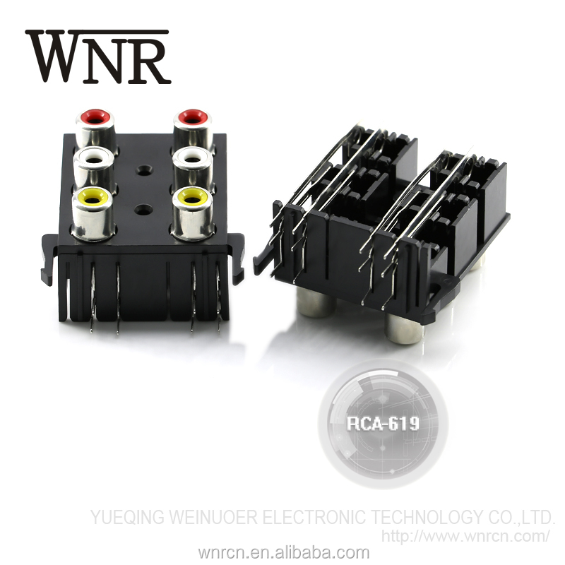 Hot sale high quality coaxial RCA video & audio jack,STB&speaker RCA jack for PCB mount RCA-619