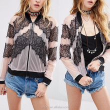 New Model Wholesale Taobao Clothes Bomber Jacket in Lace and Mesh For Women