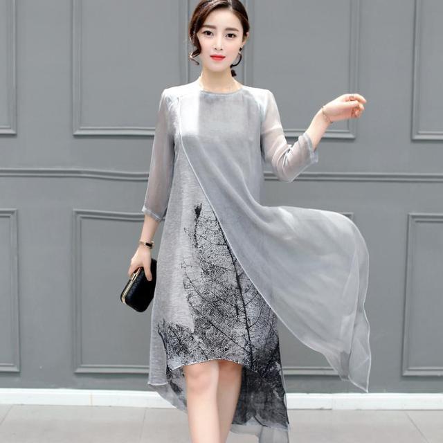 2017 New Spring Summer Women Cotton Linen Long Dresses Irregular Folk Art Ink Print Casual Plus Size Slim Dress Retro Printing