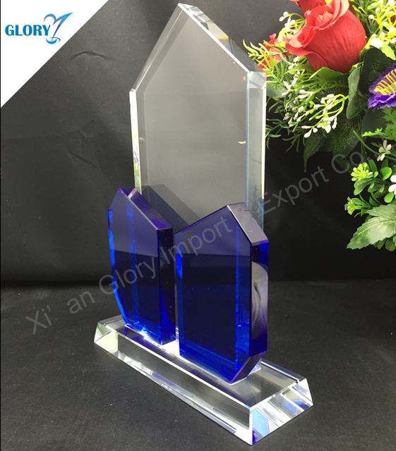 High Quality Joint Blue New Design K9 Crystal Allotype Plaque Trrophy Award