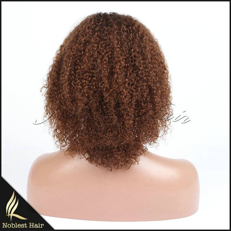 African American Natural T Color Bleached Knots Unprocessed Virgin Remy Curly Human Hair Machine Made Wigs