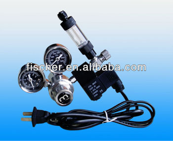 Professional Dual gauge CO2 pressure regulator with solenoid and bubble counter FMR-201,wholesale