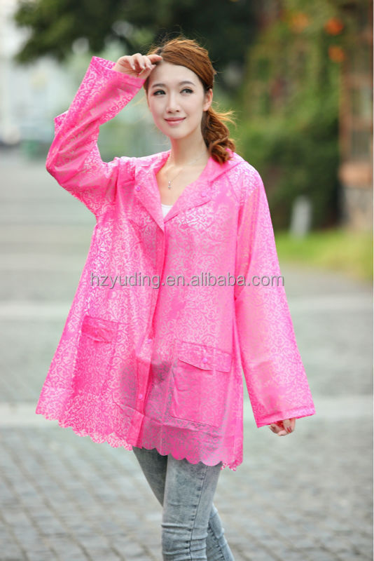 Customizable cute fashion lace red eco-friendly tpu adult's plastic raincoats for women