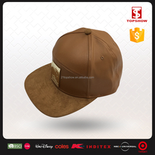 Topshow short brim polyester and leather snap back hat with metal logo