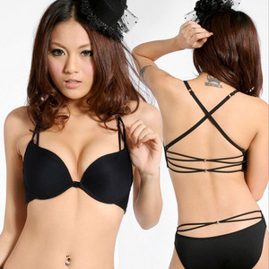 abff4ef484855 Sexy one piece cross straps no rims push up bra with front buckles