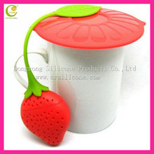 Unique strawberry shape colorful silicone rubber tea makers infusers 2013
