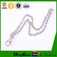 Wholesale custom fashion jewelry rhinestone lanyard With Lobster claw clasp holder