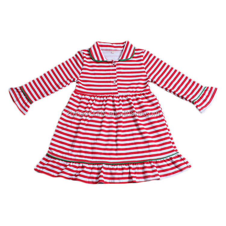 Zhihao new coming <strong>O</strong> neck long sleeve ruffles strip baby girls dress