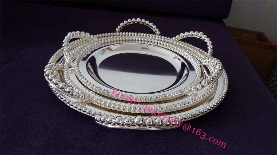 Silver plated serving tray round metal tray with handles wholesale