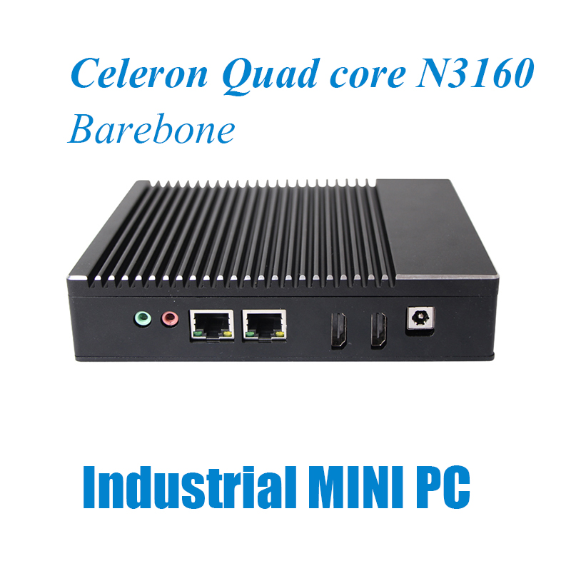 OEM/ODM N3160 quad core fanless 2 ethernet mini pc with barebone system