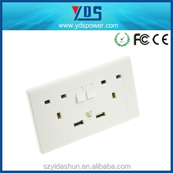 AC Outlet Socket Wall Mount Surge Protector with Dual USB Charging Port Wall Charger 2.1A