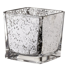 High Quality Electroplated Square Glass Candle Jar, Silver Metal Lid with Custom Logo for Candle Holder