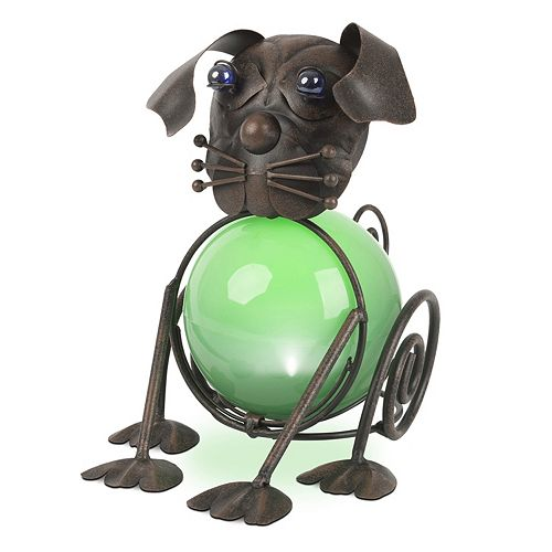 Factory Directly Backyard Garden Ornaments,Metal Dog With Solar Led Light