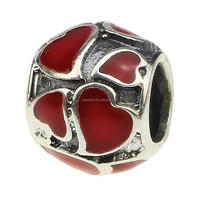 Wholesale 925 Sterling Silver Charm Antique Red Romance Love Hearts Bead for European Bracelet