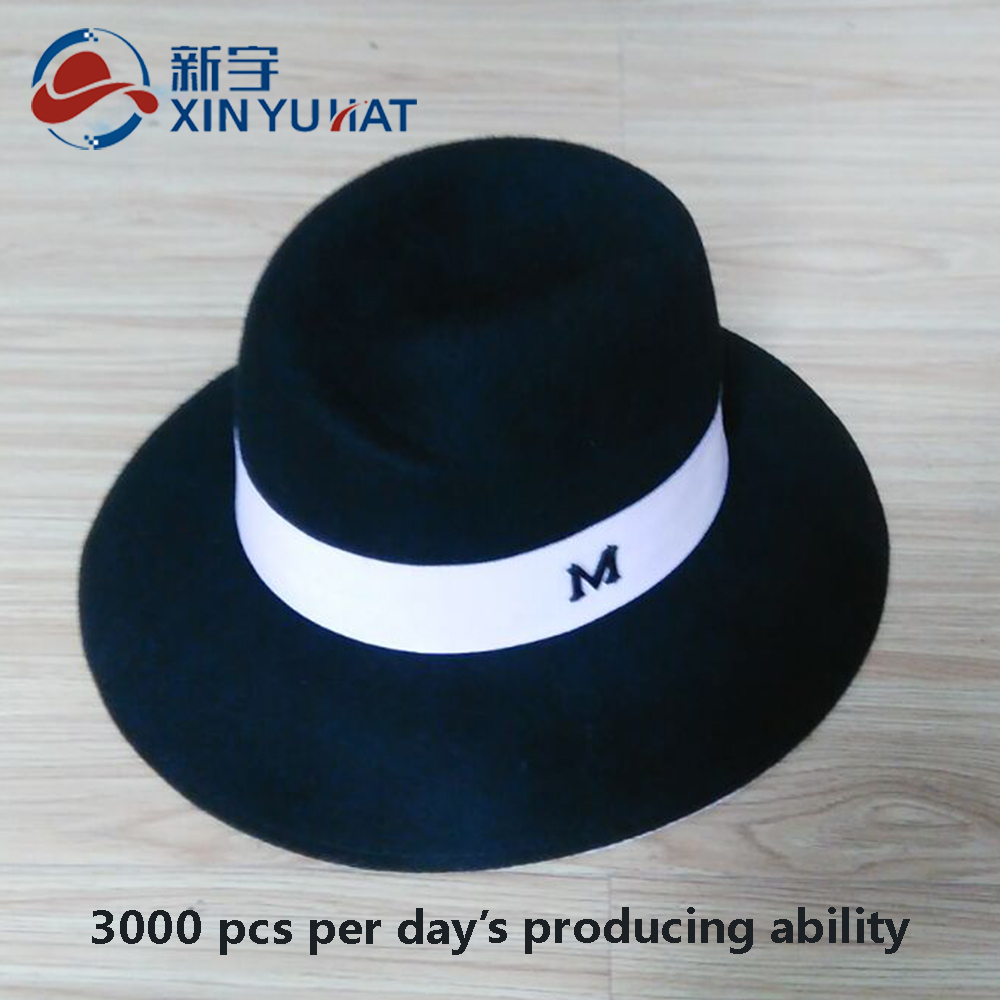 top quality women black wool fedora hat with white ribbon