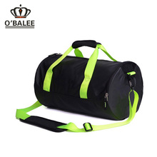 High quality no minimum order black 420D nylon women round sport bag with ball holder