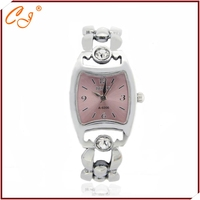 Fashion women circular chain buckle bracelet watches silver metal watches
