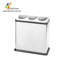 Three compartment Square stainless steel Waste Paper Bin Garbage Recycle Bin